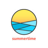 Summertime sign with waves and sunset Royalty Free Stock Images