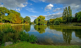 Summertime at small park lake, Birmingham, England Stock Photo