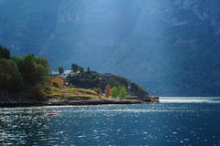 Summertime in Sognefjord. Norway, hot summer day, Sognefjord, water and sun, mountains Stock Photo