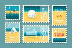 Summertime stamp set flat Royalty Free Stock Photos