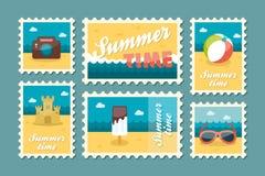 Summertime stamp set flat Royalty Free Stock Image