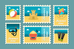 Summertime stamp set flat Royalty Free Stock Images