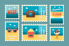 Summertime stamp set flat Royalty Free Stock Photo