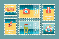 Summertime stamp set flat Stock Photo