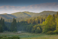 Summertime sunrise in Bieszczady Mountain Stock Image