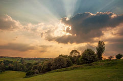 Summertime sunset in Herefordshire. Stock Image