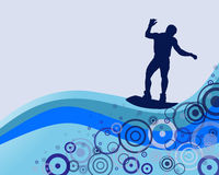 Summertime - surfing. Illustration of a wakeboarder silhouette on a colorful background Stock Image