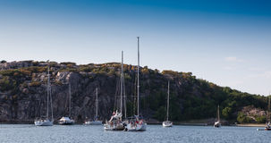 Summertime on swedish coast. Scenic view of a small cove with sail boats and motor boats Stock Photography