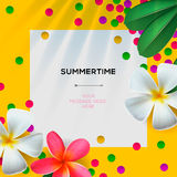 Summertime template with Floral background Stock Photography