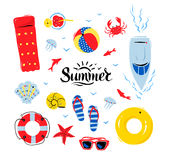 Summertime top view illustrations set Stock Image