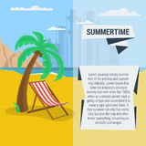 Summertime traveling template. Vector summertime traveling template with beach palm tree, deck chair. Flat style vector illustration
