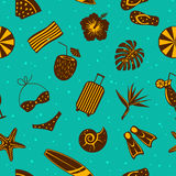 Summertime tropical travel beach vacation seamless pattern texture stock illustration