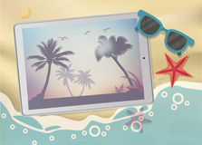 Summertime Tropical Vacation. Exotic Island with Palm Trees on tablet. Summertime Tropical Vacation Concept. Exotic Island with Palm Trees on tablet vector illustration