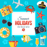 Summertime typographical background with place for text. Flat style design. Vector illustration Stock Image