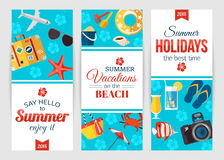 Summertime typographical banners with place for text. Flat style design. Vector illustration Stock Photo