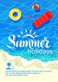 Summertime vacation flyer design. Summertime design with summer word lettering, pool raft, beach ball, rubber ring, sea surf, water ripple and beach sand Stock Photography