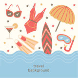 Summertime vacations and traveling background. Stock Photo