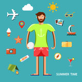 Summertime vector illustration with character and vacation icons set. Summertime vector illustration with character and vacation icons set on blue background Stock Photography