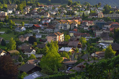 Summertime view of Thun city, Switzerland. Stock Photos
