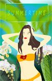 Summertime, weekend tropical exotic flowers vacation leaves royalty free illustration