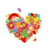 Summery флористическая форма сердца с плодоовощами Стоковые Изображения