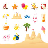 Summery Beach Icons Royalty Free Stock Images
