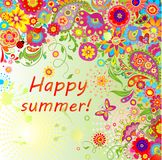 Summery card with paisley and colorful flowers Stock Photography