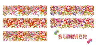 Summery colorful floral borders collection and print with summer flowers lettering. Variation royalty free illustration