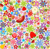 Summery floral wallpaper with fruits Royalty Free Stock Image