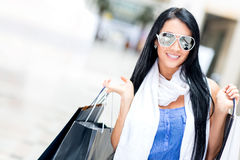 Summery girl shopping Stock Photos