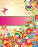 Summery greeting card with rainbow Stock Photos
