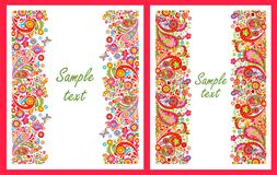 Summery greeting cards with seamless decorative colorful floral borders. For greeting cards design stock illustration