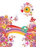 Summery hippie background with abstract colorful flowers, mushrooms, peace symbol and rainbow Royalty Free Stock Images
