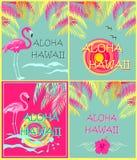 Summery moda drukuje różnica dowcipu Hawaje literowanie, palma liście, słońce, seagull, poślubnika i menchia flaminga Aloha, Płas royalty ilustracja