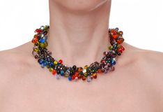 Summery multicolored  necklace. A beautiful summery multicolored  necklace Royalty Free Stock Image