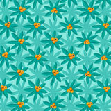 Summery Tropical Plant Pattern with Citrus Fruit. Tropical Plant Pattern with orange citrus fruit on summery background Royalty Free Stock Photography