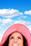 Summery woman with hat Stock Photography