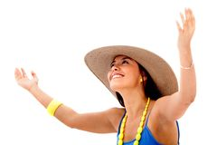 Summery woman smiling Stock Photos