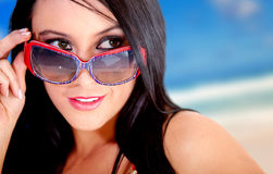 Summery woman with sunglasses Stock Photo