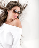 Summery woman with sunglasses Stock Photos
