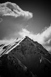 Summit. Black and white mountain summit on Alps Stock Photography