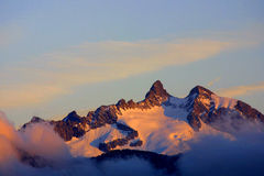 Summit - alpine view. Alpine sundown, view in the summer time Stock Photography