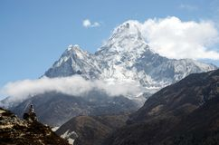 Summit of Ama Dablam mountain,Nepal,Himalayas royalty free stock photos