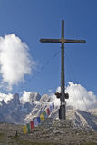 Summit ambience. Cross peaks in the Dolomites Stock Photography