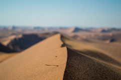 Summit of Big Daddy Dune Close up with Sand Blowing in the Wind. And View onto Desert Landscape, Sossusvlei, Namibia royalty free stock image