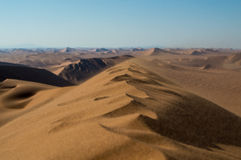 Summit of Big Daddy Dune Close up with Sand Blowing in the Wind Royalty Free Stock Image