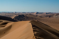 Summit of Big Daddy Dune View onto Desert Landscape, Sossusvlei Royalty Free Stock Photos