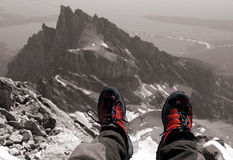 Summit break. Shoes on the top of the Grand Teton Wyoming 13770 Royalty Free Stock Photos