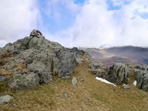 Summit cairn on Blea Rigg, Central Fells Royalty Free Stock Image