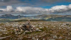 Summit Cairn on Craig Dhudh Fannaich Stock Image